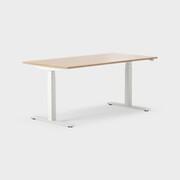 Serie[P] 160 x 80 cm, Sitt/stå, ben i vitt, Ställområde 620-1270 mm (SSP6), Skiva i laminat ek