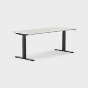 Serie[P] 180 x 80 cm, Sitt/stå, ben i svart, Ställområde 620-1270 mm (SSP6), Skiva i laminat ljusgrå