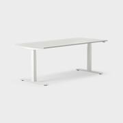 Serie[P] 180 x 80 cm, Sitt/stå, ben i vitt, Ställområde 620-1270 mm (SSP6), Skiva i laminat ljusgrå