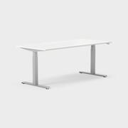 Serie[P] 180 x 80 cm, Sitt/stå, ben i silvergrått, Ställområde 615-1270 mm (SSP6), Skiva i laminat vit