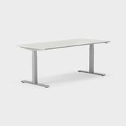 Serie[P] 180 x 80 cm, Sitt/stå, ben i silvergrått, Ställområde 615-1270 mm (SSP6), Skiva i laminat ljusgrå